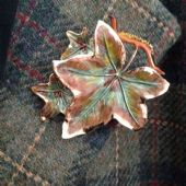 1960's Ivy Leaf Brooch signed Exquisite (Larger Size) Variegated Leaf Pin (SOLD)